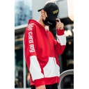 New Fashion Letter Printed Color Block Long Sleeve Zip Casual Loose Unisex Hoodie