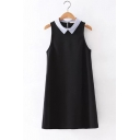 Summer Fashion Lapel Collar Sleeveless Simple Plain Poplin Mini Swing Dress