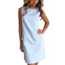 Summer Chic Office Lady Simple Plain Round Neck Sleeveless Mini Sheath Dress