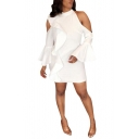 Womens Simple Plain Cold Shoulder Flared Sleeve Mini White Sheath Dress