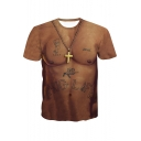 Guys Cool Letter THUG LIFE Tattoo 3D Muscle Pattern Round Neck Short Sleeve Slim T-Shirt
