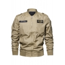 Mens Cool Simple Letter Badge Stand Collar Long Sleeve Zip Up Flight Bomber Jacket