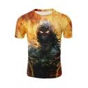 Summer Trendy Cool Fire Skull Pattern Round Neck Short Sleeve Regular Fit T-Shirt