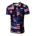 Creative 3D American Flag Pattern Round Neck Short Sleeve T-Shirt