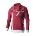 Mens Fashion Simple Plain Turn-Down Collar Long Sleeve Zip Up Red Sweatshirt Jacket