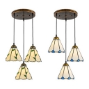 Dining Room Conical Hanging Light Glass 3 Lights Tiffany Rustic Beige/White Suspension Light