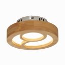 Modern Slim Panel Flush Mount Light Wood Beige LED Ceiling Lamp for Boy Girl Bedroom