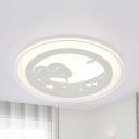 Kids White LED Flush Mount Light Rabbit Moon Metal Ceiling Lamp in Warm/White for Girl Bedroom