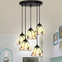 Glass Conical Shade Pendant Lamp with Leaf 4/5/6 Heads Rustic Stylish Hanging Light in Beige