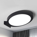 Oval Fish LED Flush Ceiling Light Simple Style Acrylic Ceiling Fixture in Black/White for Nursing Room