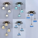 Down Lighting Restaurant Hanging Light Glass 4 Lights Tiffany Antique Ceiling Light in Beige/Blue/White