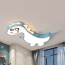 Child Bedroom Dinosaur Ceiling Light Metal Cartoon Third Gear/White Lighting LED Flush Mount Light