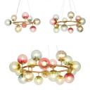 Romantic Ring Hanging Lamp with Multi-Color Globe 9/12/18 Lights Chandelier in Brass for Cloth Shop