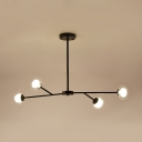Modern Branch Chandelier Light 4 Lights Metal & Glass Pendant Light in Black for Foyer