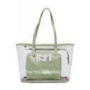 New Trendy Letter NUO MEI FENG SHANG Printed Transparent Shoulder Bag Casual Tote Bag 43*26*14 CM