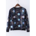 Women's Vintage Blue Floral Printed Round Neck Long Sleeve Pullover Sweatshirt