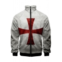 Knights Templar Red Cross Printed Stand Collar Long Sleeve Zip Up White Jacket