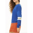 Womens Popular Colorblocked Stripe Long Sleeve Round Neck Blue Casual Sweatshirt