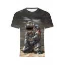 Cool Astronaut 3D Figure Printed Round Neck Short Sleeve Grey T-Shirt