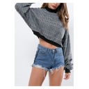 Hot Popular Plaid Pattern Mock Neck Long Sleeve Casual Loose Cropped Black Sweatshirt