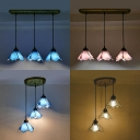 Creative Bloom Shade Pendant Light Blue/Clear/Pink Glass Three-Light Ceiling Light for Restaurant