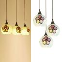 Modern White Pendant Light Sphere Shade 3 Lights Glass Hanging Light with Flower for Living Room