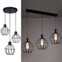 3 Heads Globe Cage Pendant Light Industrial Metal Hanging Light in Black for Restaurant Bar