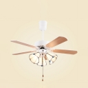 Modern 4 Blade LED Ceiling Fan with Pull Chain 3 Lights Glass Ceiling Lamp in White for Dining Room