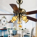 Cone Dining Room Ceiling Fan Glass 5 Lights Antique Semi Ceiling Mount Light with 5 Blade
