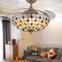Invisible Blade Semi Flush Ceiling Light 42 Inch Glass Frequency Conversion LED Ceiling Fan for Living Room