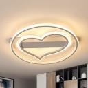 White Heart LED Flush Mount Light Modern Acrylic Ceiling Lamp in Warm/White for Nursing Room