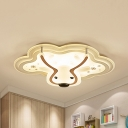 Animal Deer Head Ceiling Mount Light Metal LED Flush Light in Warm&White/White for Child Bedroom