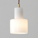 Modern Stylish Cylinder Pendant Light 1 Head Milk Glass Suspension Light in White for Bedroom Foyer