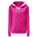 Womens Fashion Simple Plain Long Sleeve Lace-Up Collar Fitted Hoodie