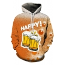 HAPPY Beer Cool 3D Printed Long Sleeve Sport Loose Pullover Orange Hoodie
