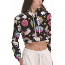 Cartoon Unicorn Pattern Long Sleeve Black Cropped Drawstring Hoodie