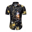 Guys Summer Cool Gold Chain Pattern Short Sleeve Button Down Black Shirt