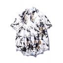 Summer Cool Hawaiian Leaf Pattern Casual Loose White Cotton Beach Shirt