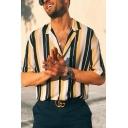 Guys Summer Cool Vertical Stripe Print Lapel Collar Short Sleeve Loose Camp Shirt