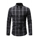 Mens Trendy Plaid Pattern Long Sleeve Button Front Slim Fitted Shirt