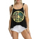 Circle Letter PEACE LOVE Print Fashion Bow-Tied Straps Loose Fit Black Cami Top