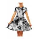 Women's Summer Trendy 3D Pattern Short Sleeve Round Neck Mini A-Line Flared Dress