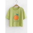 Summer Lovely Cartoon Orange Print Basic Round Neck Loose Fit Cropped T-Shirt