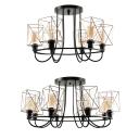 Square Cage Villa Ceiling Light Wrought Iron 6/8 Lights Retro Stylish Semi Flush Mount Light in Black