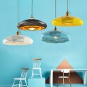 Creative Lattice Hat-Shaped Pendant Light Edison Bulb 1 Light Black/Blue/White/Yellow for Cafe