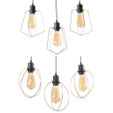Antique Ring/Pentagon Pendant Light 3 Lights Metal Suspension Light in Black & Gold for Kitchen