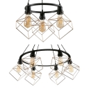 Antique Style Black Pendant Light with Cube Cage 3/6 Lights Metal Ceiling Pendant for Bar