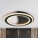 Black/White Circle Flush Mount Light Modern Metal Third Gear/Warm/White LED Ceiling Light for Kitchen