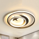 Lovely Night View Flush Ceiling Light Acrylic Warm/White Lighting LED Ceiling Fixture for Kid Bedroom