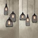 Vintage Stylish Black Pendant Light Bottle 3 Lights Mesh Screen Hanging Light for Cafe Bar